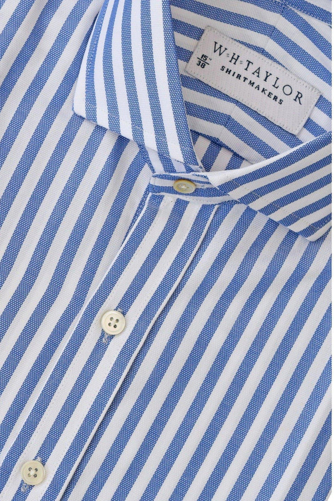 Navy Butcher Oxford Stripe Bespoke Shirt-whtshirtmakers.com
