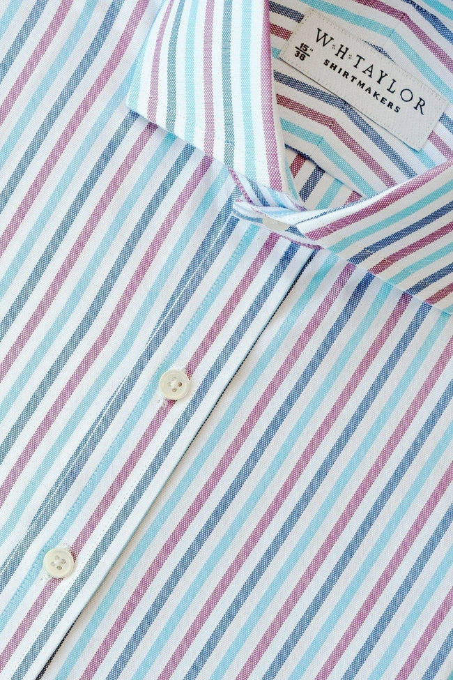 whtshirtmakers.com Bespoke Navy, Cerise & Aqua Oxford Stripe Shirt