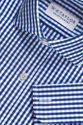 Blue Small Gingham Check Poplin Bespoke Shirt