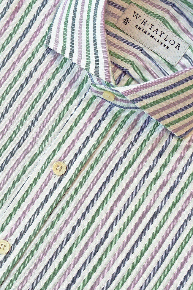 Navy, Green & Lilac Oxford Stripe Bespoke Shirt-whtshirtmakers.com