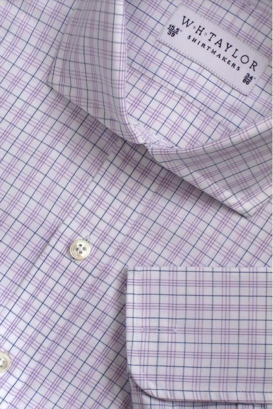 Navy Pin Triple Lilac Check Poplin Bespoke Shirt-whtshirtmakers.com