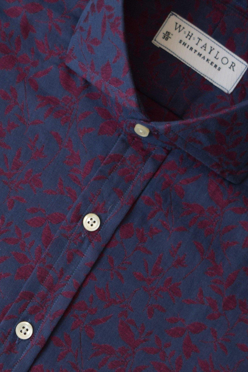 Navy & Red Floral Bespoke Shirt-whtshirtmakers.com