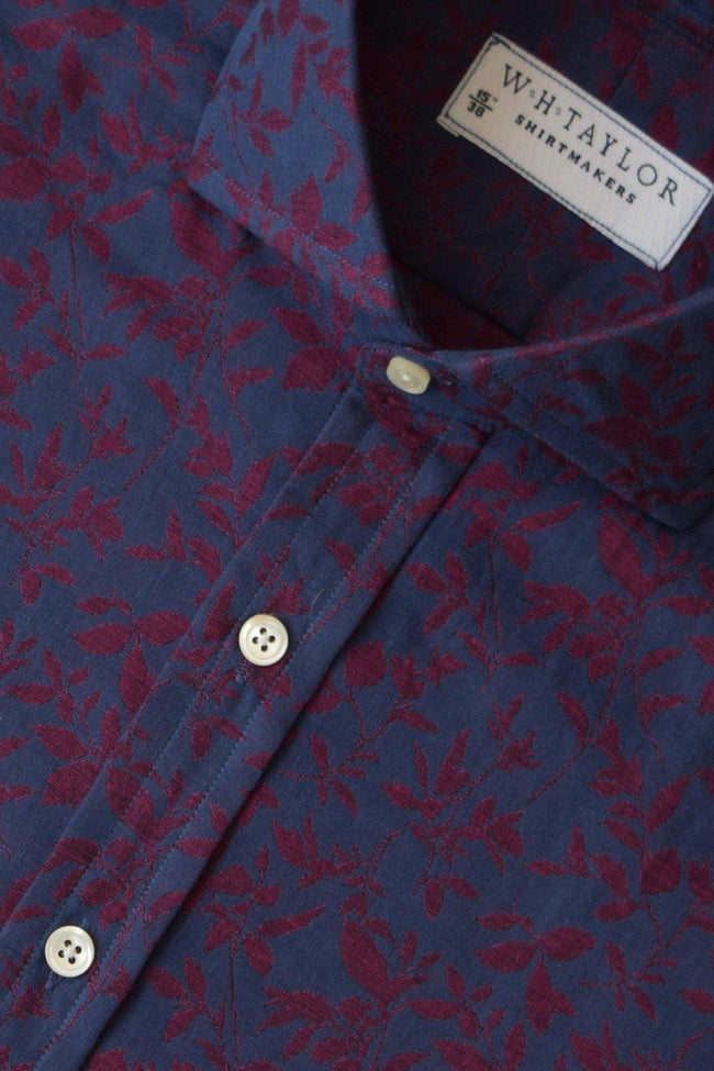 whtshirtmakers.com Bespoke Navy & Red Floral Shirt