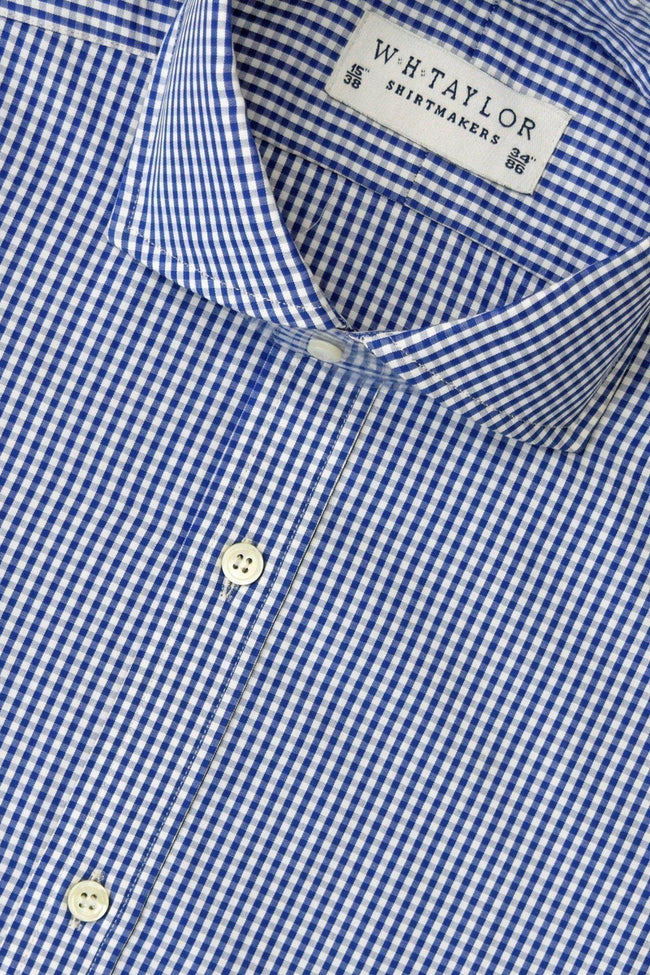 Navy Small Gingham Check Poplin Bespoke Shirt-whtshirtmakers.com
