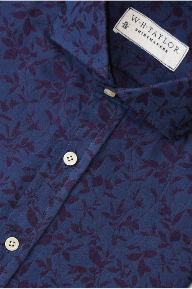 Navy & Wine Floral Bespoke Shirt-whtshirtmakers.com