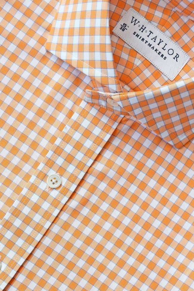 Orange Gingham Check Poplin Bespoke Shirt-whtshirtmakers.com