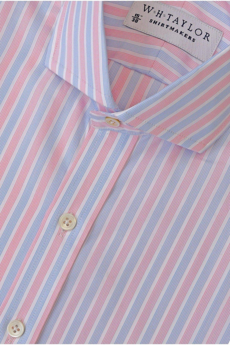 Pink & Blue Bulk Hairline Stripe Poplin Bespoke Shirt-whtshirtmakers.com
