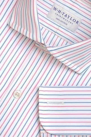 Pink & Blue Double Striped Poplin Bespoke Shirt-whtshirtmakers.com