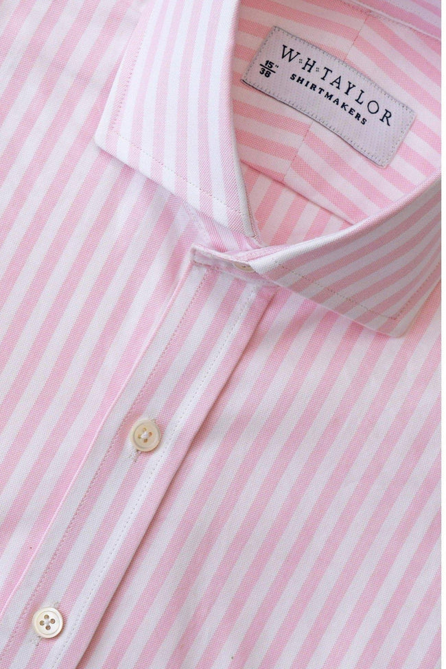 whtshirtmakers.com Bespoke Pink Butcher Oxford Stripe Shirt