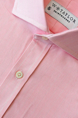 Lilac Large Herringbone Stripe Bespoke Shirt