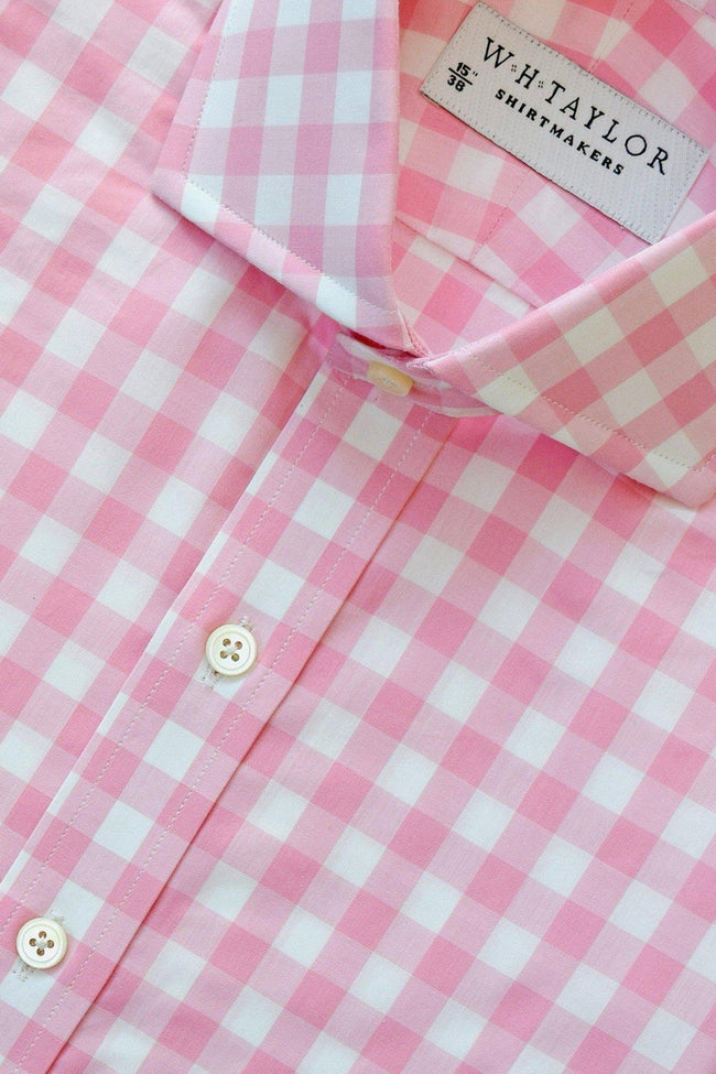 Pink Large Gingham Check Poplin Bespoke Shirt-whtshirtmakers.com