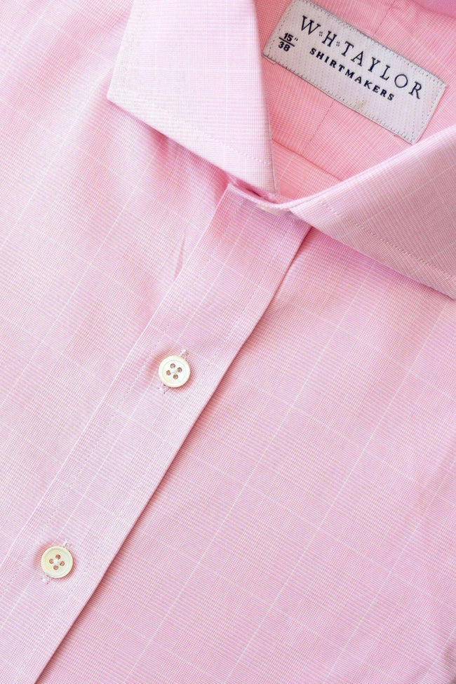 Pink Prince of Wales Plaid Check Poplin Bespoke Shirt-whtshirtmakers.com