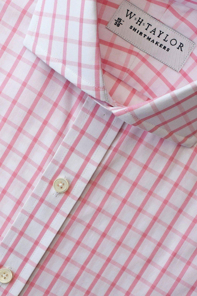 Pink Windowpane Check Poplin Bespoke Shirt-whtshirtmakers.com