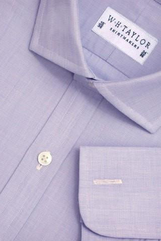 Plain 140's Superfine Blue End On End Poplin Bespoke Shirt-whtshirtmakers.com