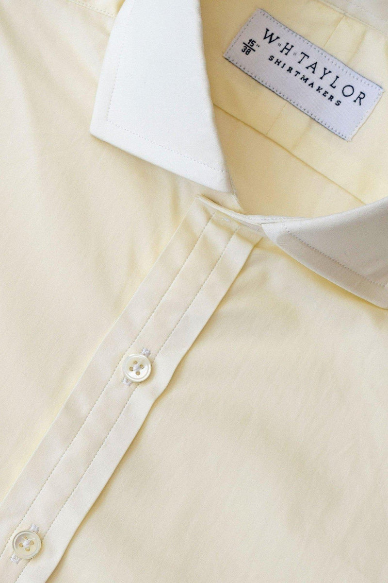 Plain 140's Superfine Cream Poplin Bespoke Shirt-whtshirtmakers.com
