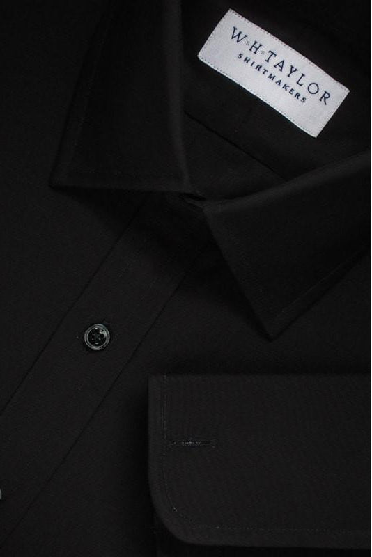 Plain Black Poplin Bespoke Shirt-whtshirtmakers.com