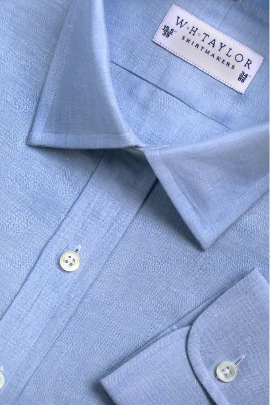 Plain Blue Luxury Linen Bespoke Shirt-whtshirtmakers.com
