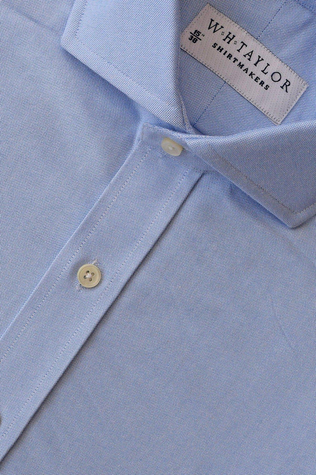 Plain Blue Pinpoint Bespoke Shirt-whtshirtmakers.com