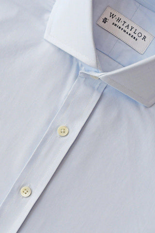 140's Superfine Plain Azure Blue Poplin Bespoke Shirt