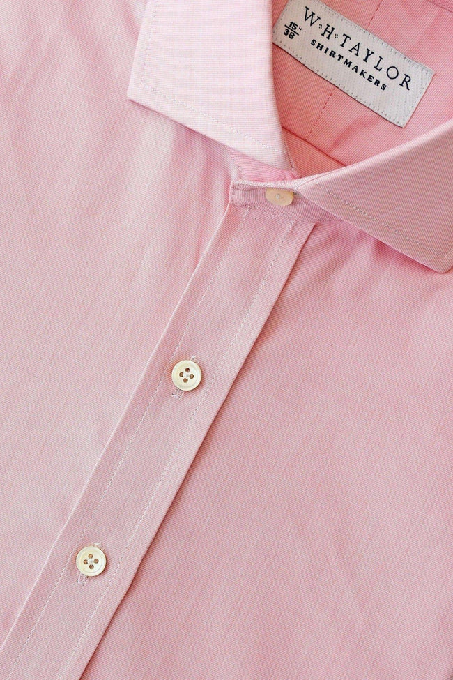 Plain Pink End On End Bespoke Shirt-whtshirtmakers.com