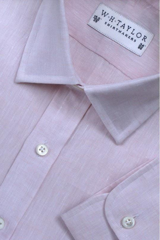 Plain Pink Luxury Linen Bespoke Shirt-whtshirtmakers.com