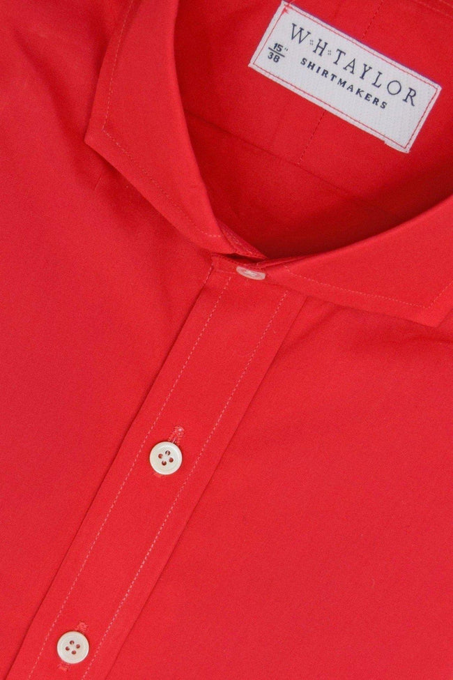 Plain Red Poplin Bespoke Shirt-whtshirtmakers.com