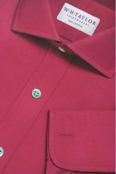 Plain Ruby Red Poplin Bespoke Shirt-whtshirtmakers.com
