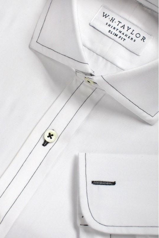 Plain White Black Stitched Poplin Bespoke Shirt-whtshirtmakers.com
