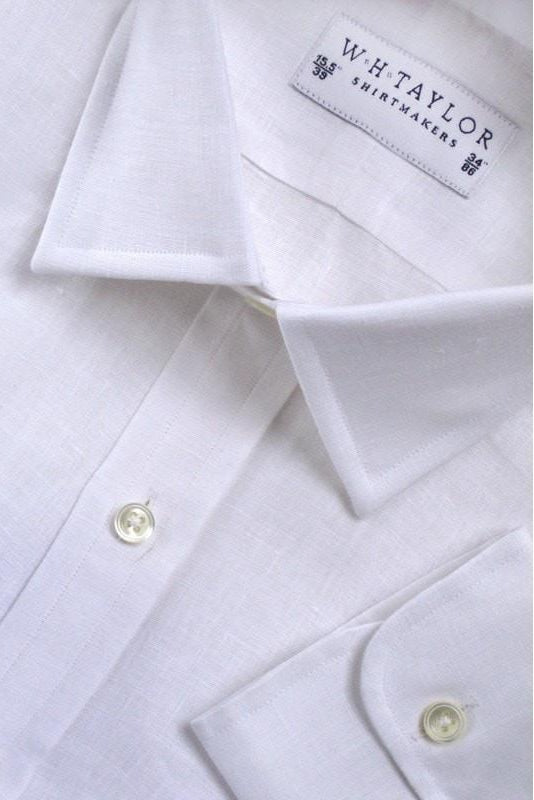 Plain White Luxury Linen Bespoke Shirt-whtshirtmakers.com