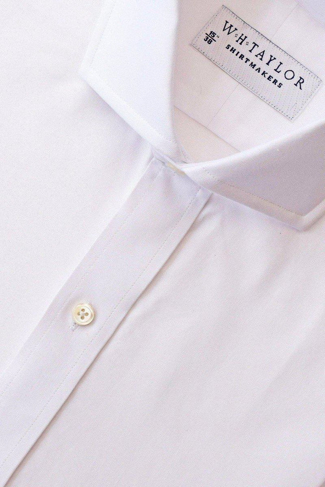 Plain White Pinpoint Bespoke Shirt-whtshirtmakers.com