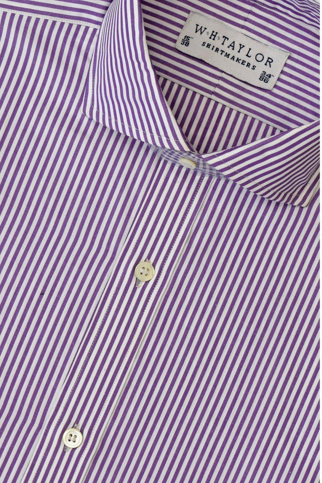 Purple Bengal Striped Poplin Bespoke Shirt-whtshirtmakers.com