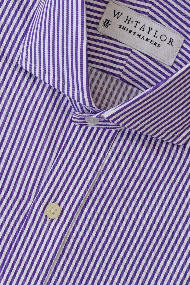 Purple Bengal Twill Stripe Bespoke Shirt-whtshirtmakers.com