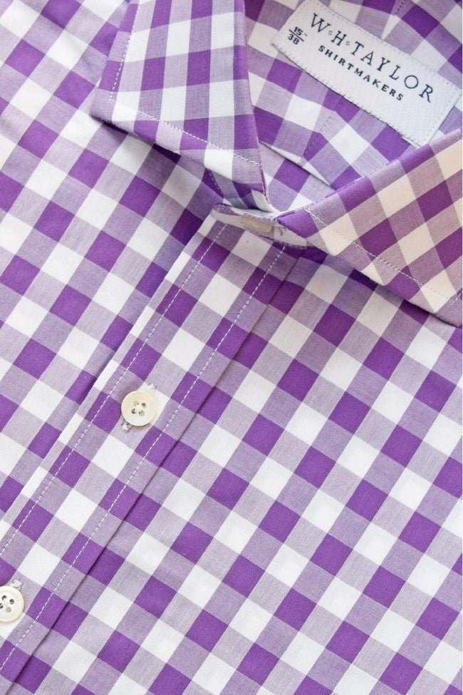 Purple Large Gingham Check Poplin Bespoke Shirt-whtshirtmakers.com
