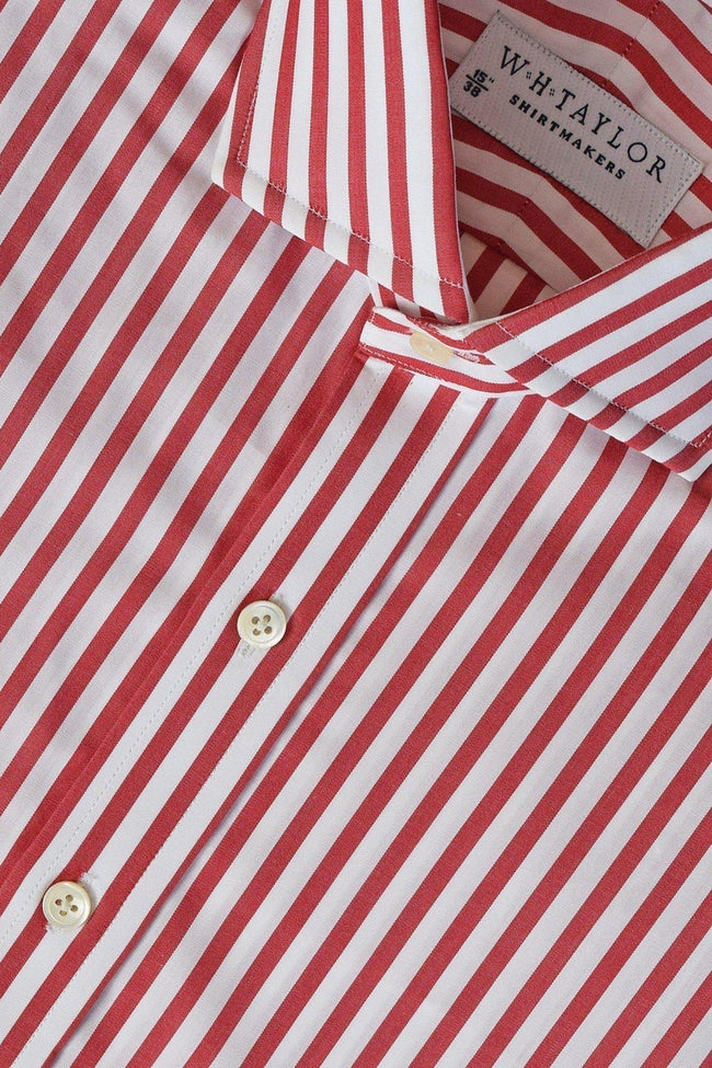 Red Butcher Striped Poplin Bespoke Shirt-whtshirtmakers.com