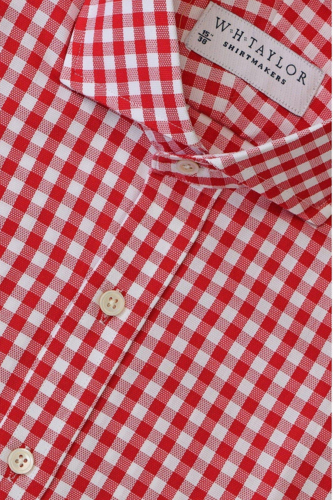 Red Gingham Check Oxford Bespoke Shirt-whtshirtmakers.com