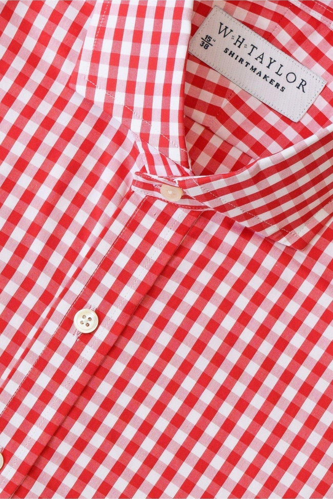 Red Gingham Check Poplin Bespoke Shirt-whtshirtmakers.com