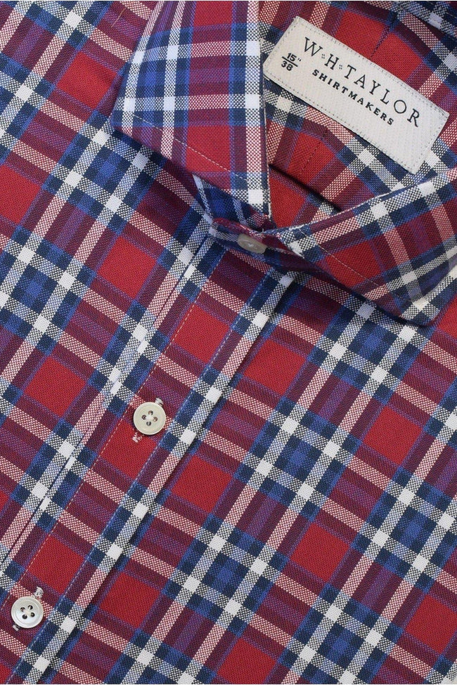 Red Plaid Twill Check Bespoke Shirt-whtshirtmakers.com