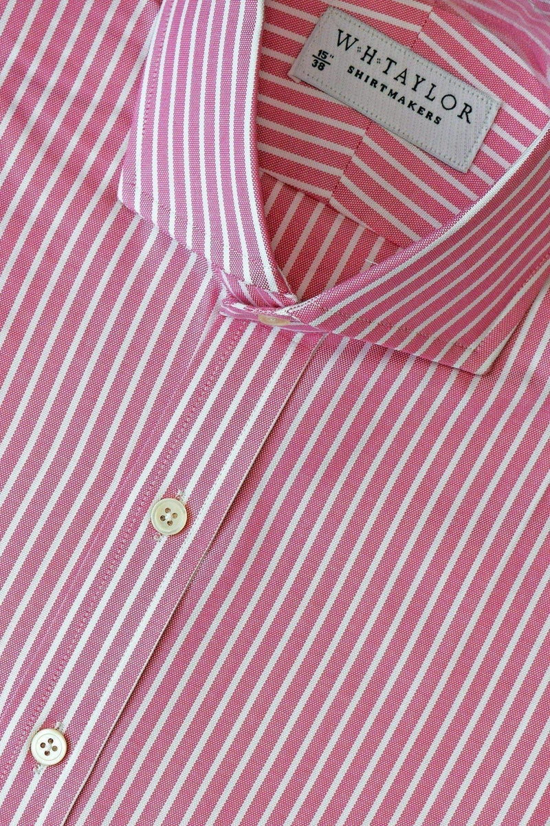 Red & White Pinstripe Oxford Stripe Bespoke Shirt-whtshirtmakers.com