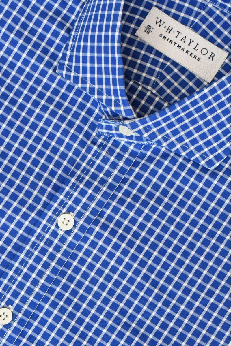 Royal Blue & White Windowpane Check Bespoke Shirt-whtshirtmakers.com