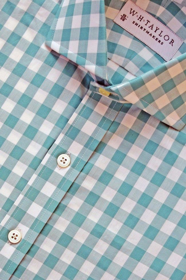 Sea Green Large Gingham Check Poplin Bespoke Shirt-whtshirtmakers.com