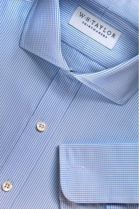 Sky Blue Shepherds Check Poplin Bespoke Shirt-whtshirtmakers.com