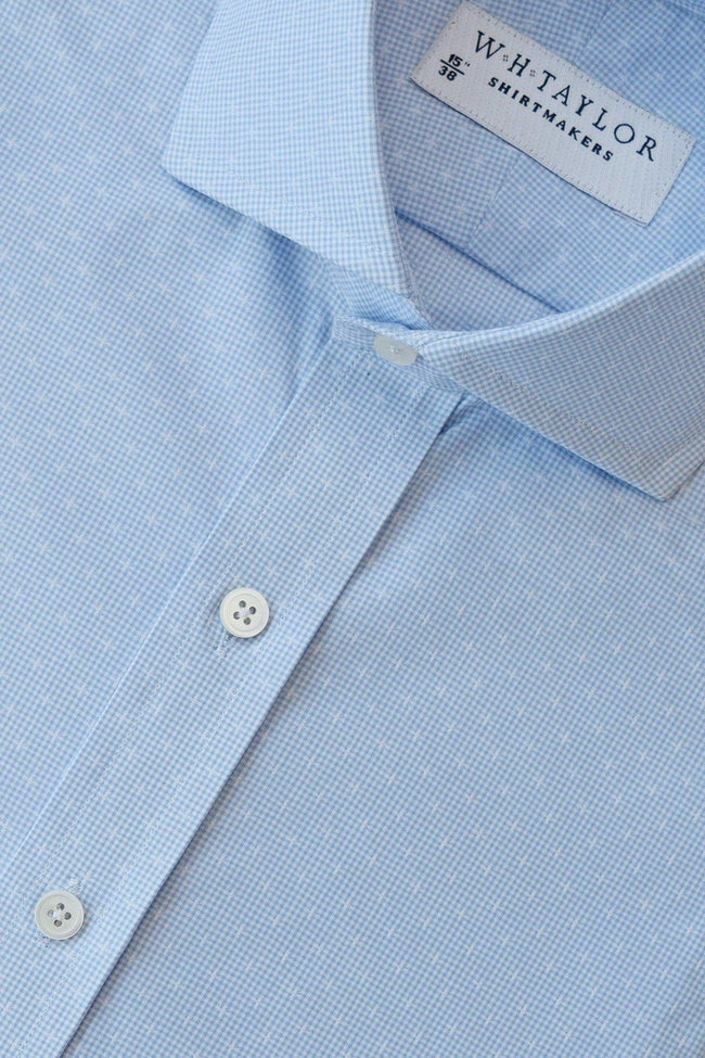 Sky Crossed Shepherd Check Bespoke Shirt-whtshirtmakers.com