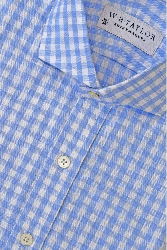 Sky Gingham Check Oxford Bespoke Shirt-whtshirtmakers.com