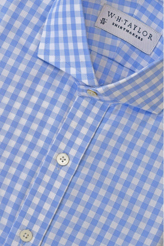 Blue Prince of Wales Plaid Check Poplin Bespoke Shirt
