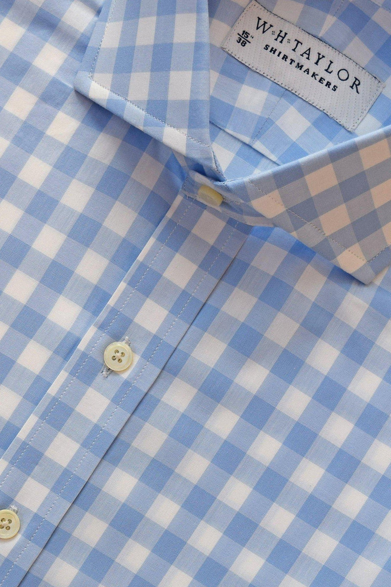 Sky Large Gingham Check Poplin Bespoke Shirt-whtshirtmakers.com