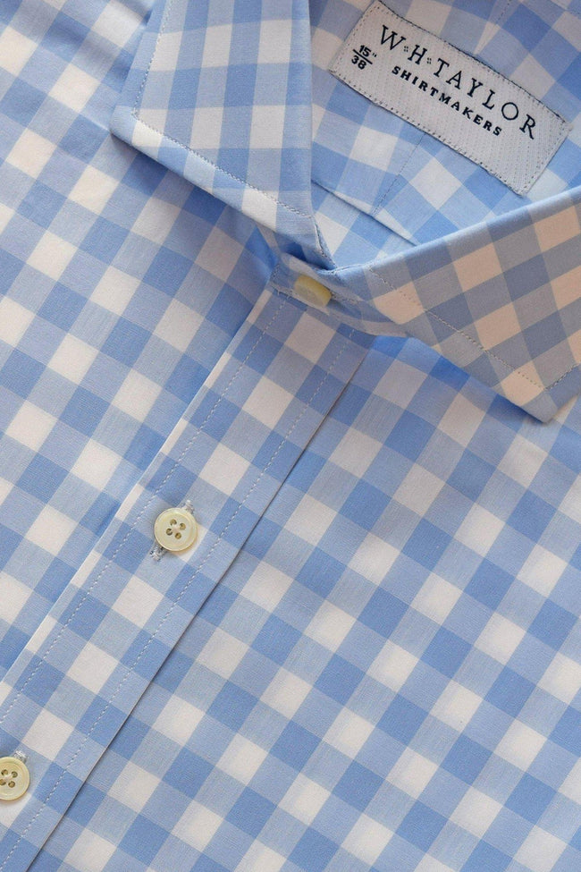 whtshirtmakers.com Bespoke Sky Large Gingham Check Poplin Shirt