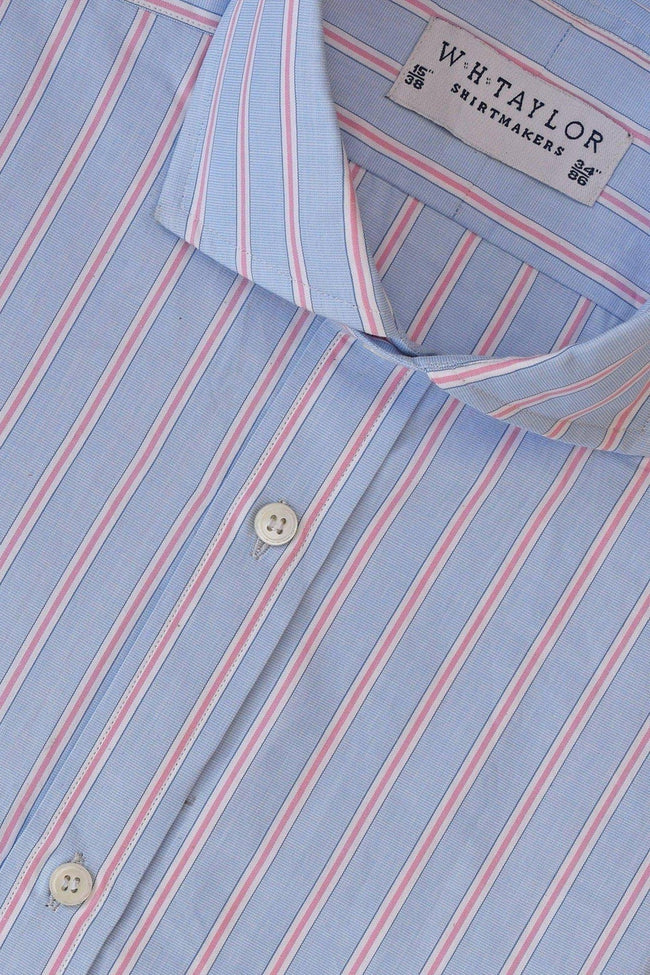 whtshirtmakers.com Bespoke Sky, Pink Shadow Stripe Oxford Shirt