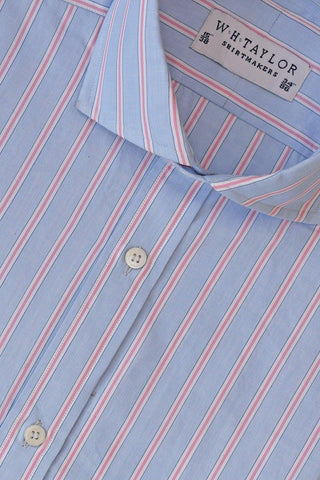 Large Pink Stripe White Wide Pinstripe Poplin Bespoke Shirt