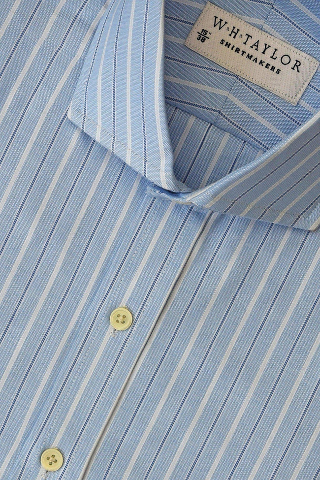 whtshirtmakers.com Bespoke Sky, White Pinstripe & Navy Pipe Oxford Stripe Shirt