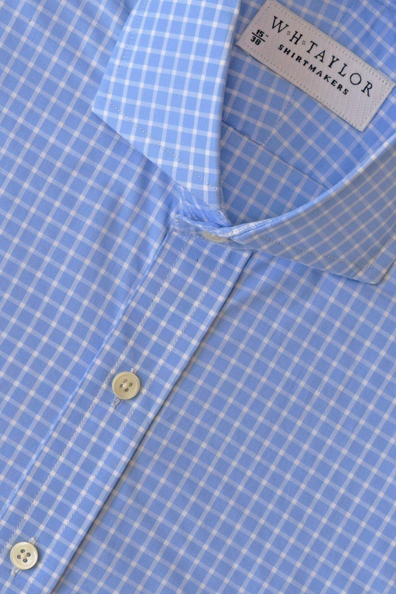 Sky & White Windowpane Check Bespoke Shirt-whtshirtmakers.com